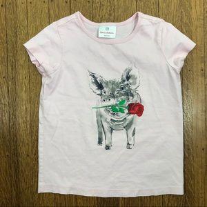 Hanna Anderrson Sz 110 baby pink shirt pig graphic